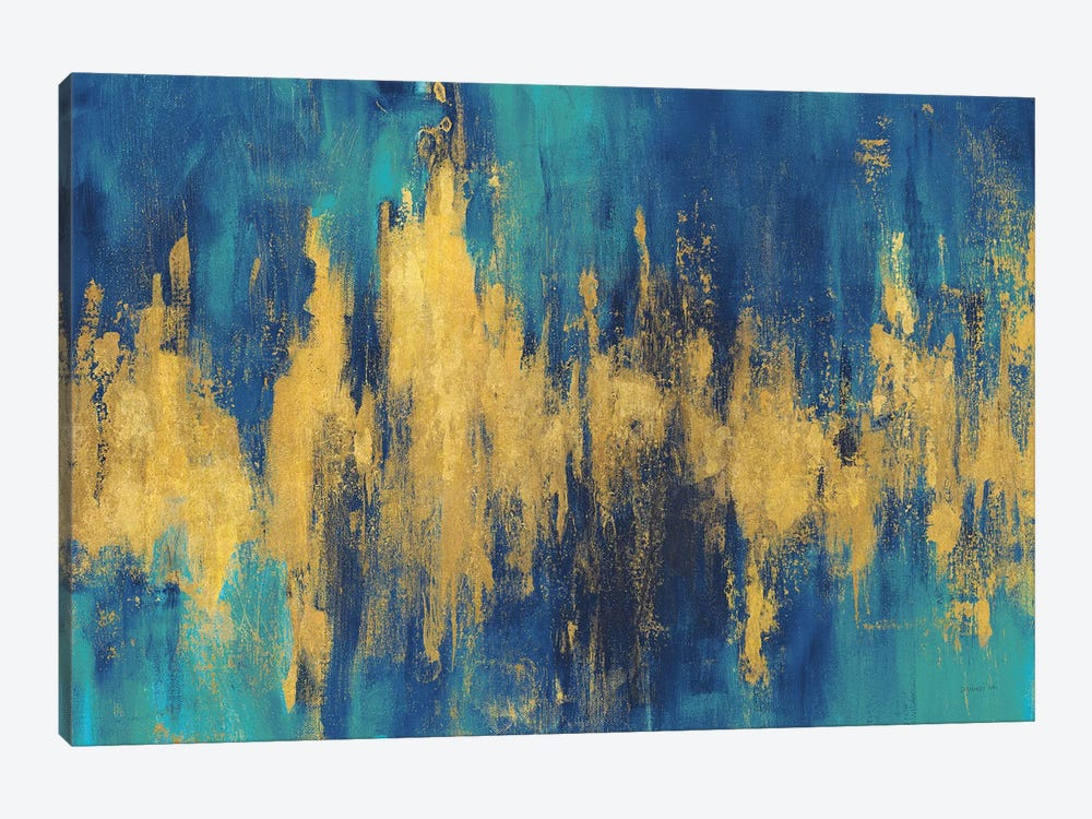 Blue And Gold Abstract Crop by Danhui Nai 1-piece Canvas Artwork