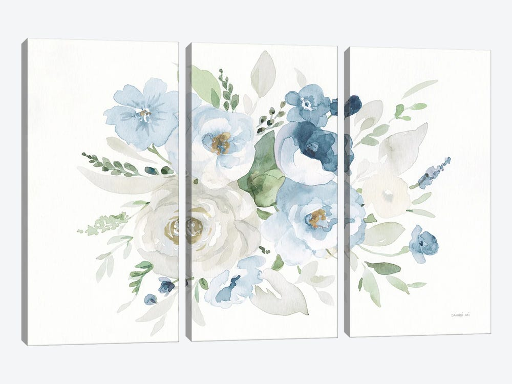 Essence Of Spring Ii Blue by Danhui Nai 3-piece Canvas Wall Art