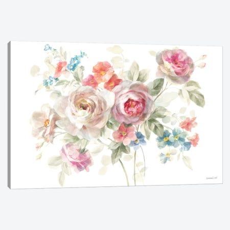 Cottage Garden I on White Canvas Print #NAI29} by Danhui Nai Canvas Art