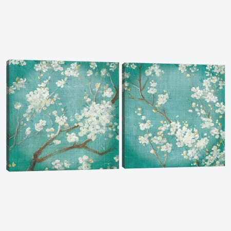 White Cherry Blossoms Diptych Canvas Print Set #NAI2HSET001} by Danhui Nai Canvas Artwork