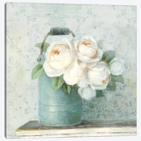 June Roses I White Blue Crop Canvas Print #NAI307} by Danhui Nai Canvas Print