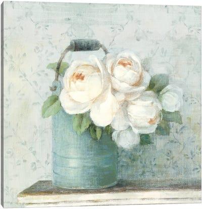June Roses I White Blue Crop Canvas Art Print