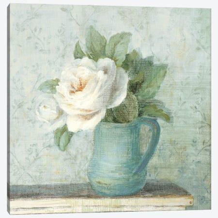 June Roses II White Blue Crop Canvas Print #NAI308} by Danhui Nai Canvas Artwork