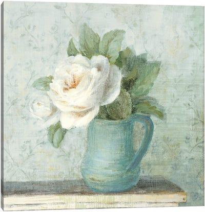 June Roses II White Blue Crop Canvas Art Print
