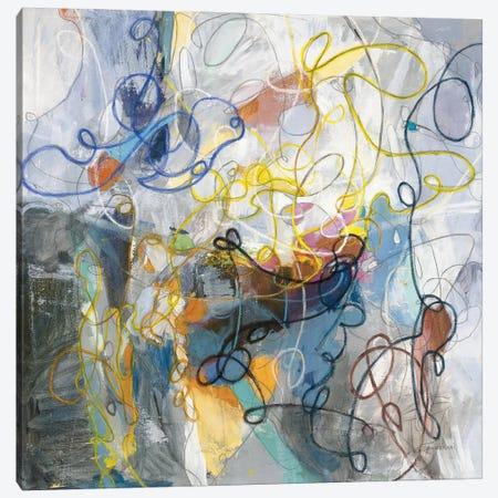 Blue and Sienna Abstract Canvas Print #NAI315} by Danhui Nai Canvas Wall Art