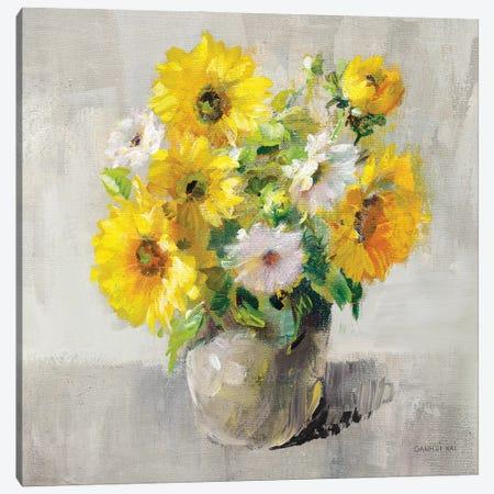 Sunflower Still Life I On Gray Canvas Print #NAI351} by Danhui Nai Art Print