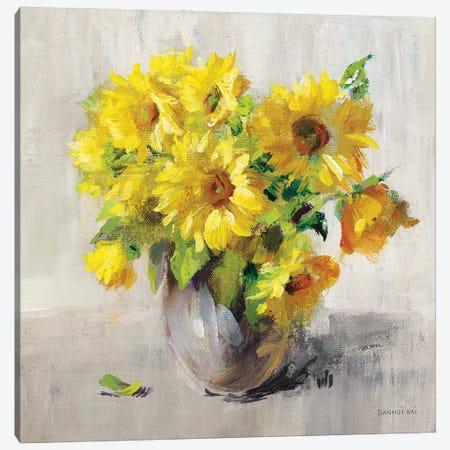 Sunflower Still Life II On Gray Canvas Print #NAI352} by Danhui Nai Canvas Art Print