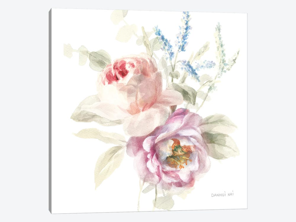 Cottage Garden V on White 1-piece Canvas Art Print