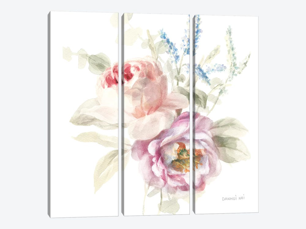 Cottage Garden V on White by Danhui Nai 3-piece Canvas Art Print