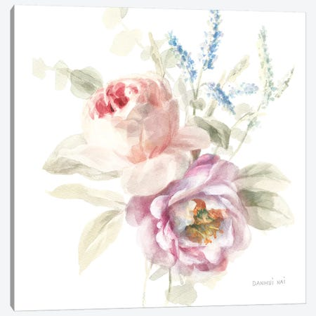 Cottage Garden V on White Canvas Print #NAI51} by Danhui Nai Art Print