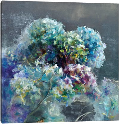 Abstract Hydrangea Dark Canvas Art Print