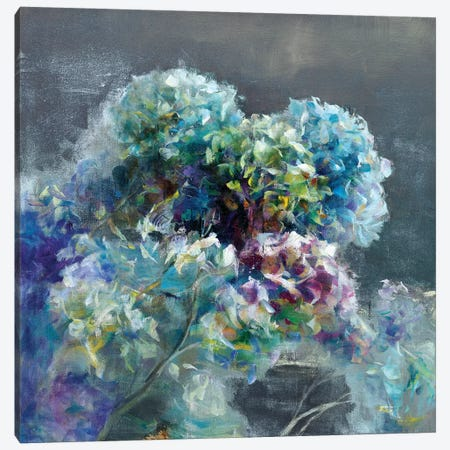 Abstract Hydrangea Dark Canvas Print #NAI55} by Danhui Nai Canvas Wall Art