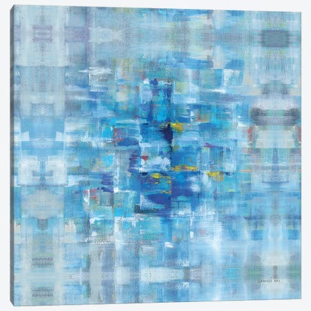 Abstract Squares Blue Canvas Print #NAI56} by Danhui Nai Canvas Artwork