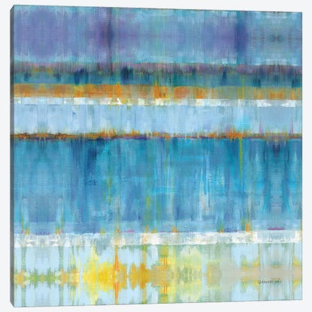Abstract Stripes Blue Canvas Print #NAI57} by Danhui Nai Canvas Artwork