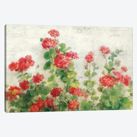 Red Geraniums on White Canvas Print #NAI73} by Danhui Nai Canvas Print