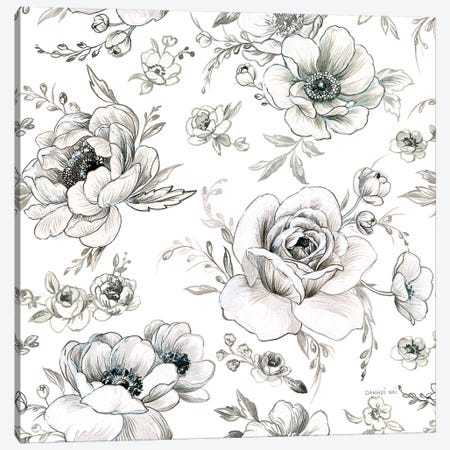 Sketchbook Garden Pattern VA on White Canvas Print #NAI76} by Danhui Nai Canvas Artwork