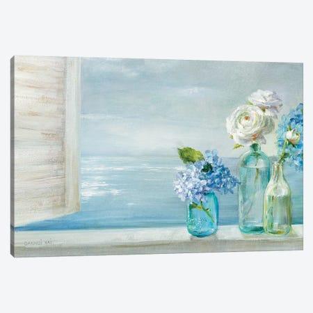 A Beautiful Day At the Beach - 3 Glass Bottles Canvas Print #NAI81} by Danhui Nai Canvas Art