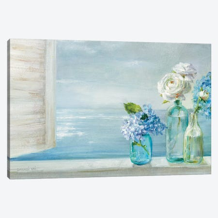 A Beautiful Day At the Beach - 3 Glass Bottles Canvas Print #NAI81} by Danhui Nai Canvas Art