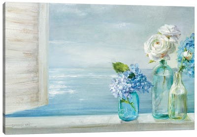 A Beautiful Day At the Beach - 3 Glass Bottles Canvas Art Print