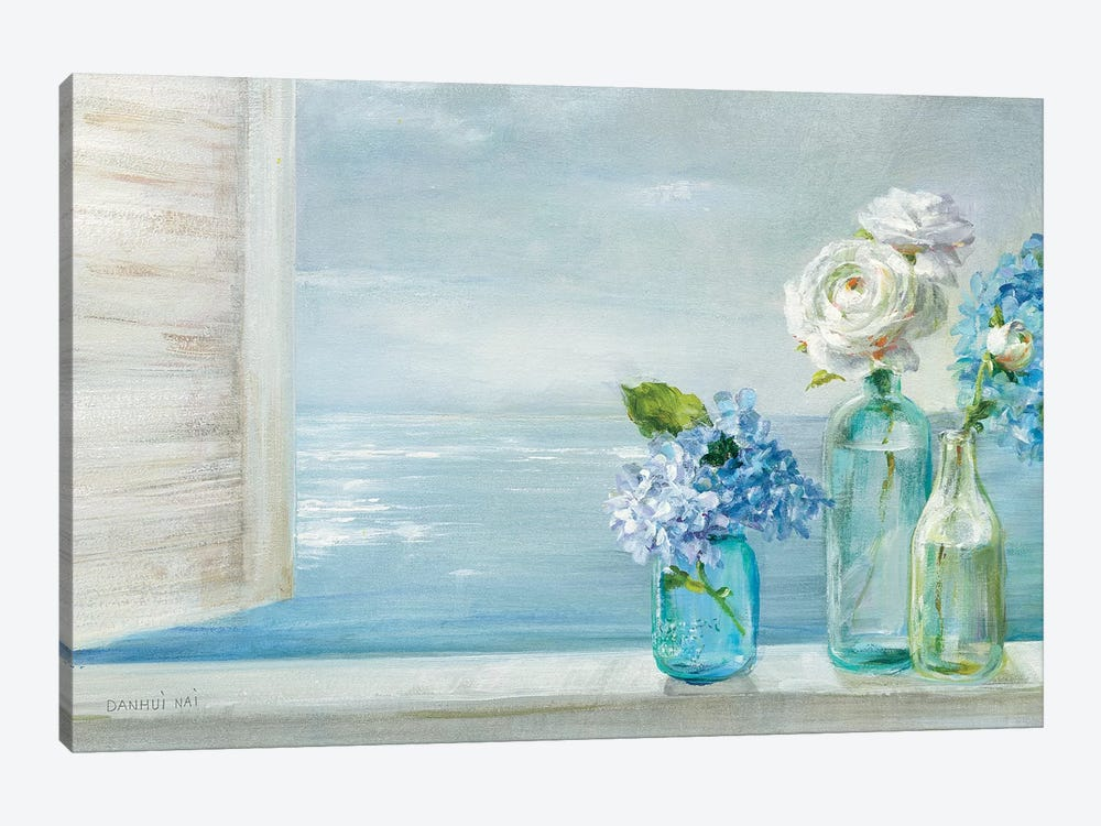 A Beautiful Day At the Beach - 3 Glass Bottles by Danhui Nai 1-piece Canvas Artwork