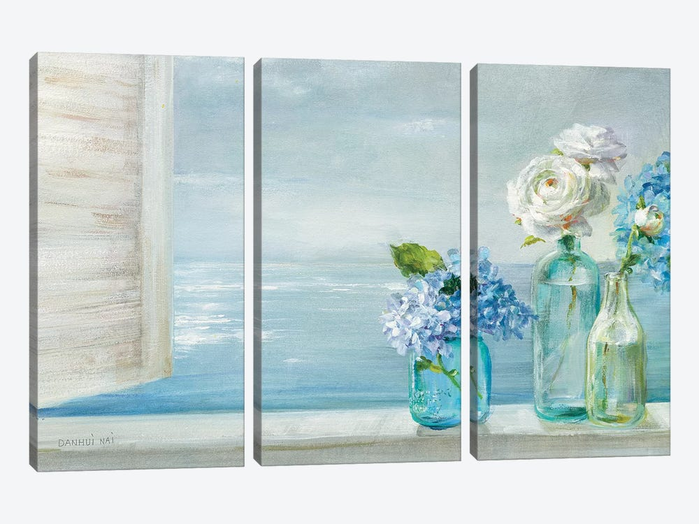 A Beautiful Day At the Beach - 3 Glass Bottles by Danhui Nai 3-piece Canvas Art