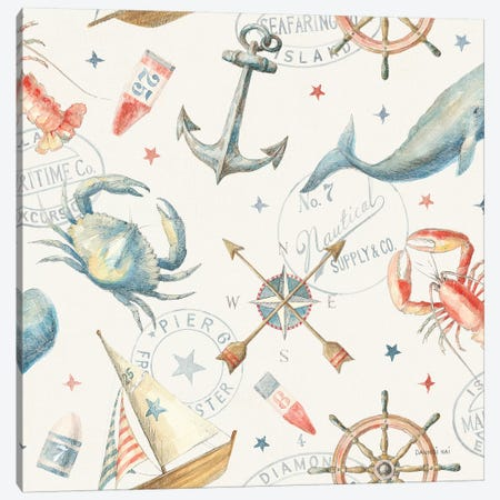 Floursack Nautical Pattern I Canvas Print #NAI87} by Danhui Nai Canvas Print