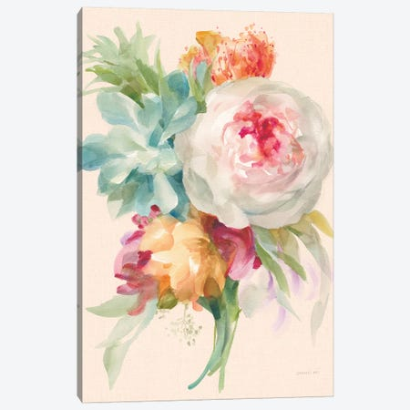Garden Bouquet I on Peach Linen 3-Piece Canvas #NAI98} by Danhui Nai Canvas Print
