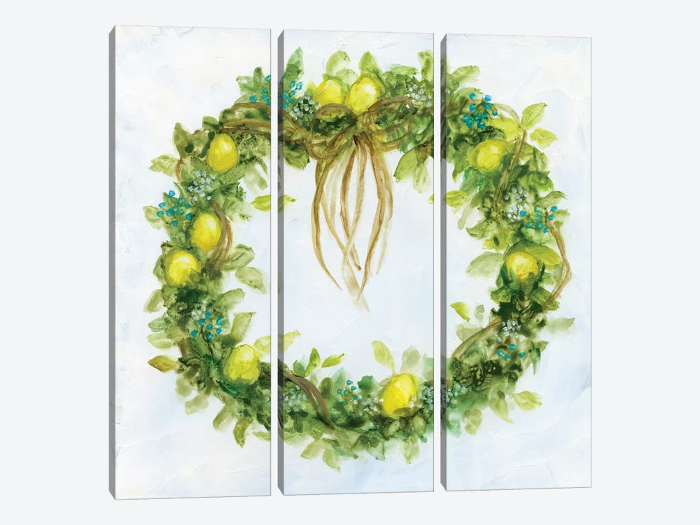 Fresh Lemon Wreath by Nan 3-piece Canvas Print
