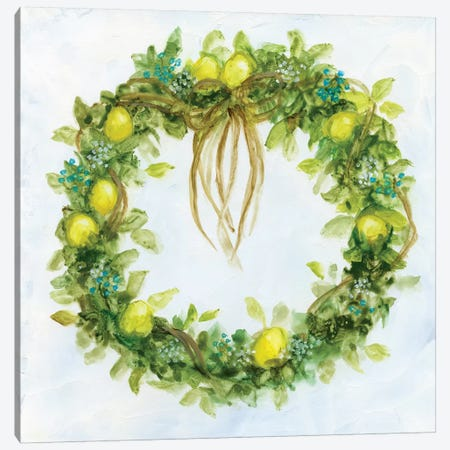 Fresh Lemon Wreath Canvas Print #NAN111} by Nan Canvas Artwork