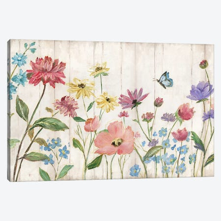 Wildflower Flutter On Wood Canvas Print #NAN161} by Nan Canvas Print
