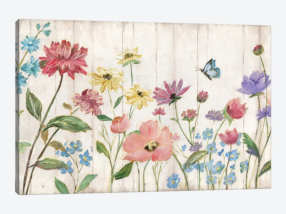 Wildflower Flutter On Wood 1-piece Canvas Artwork