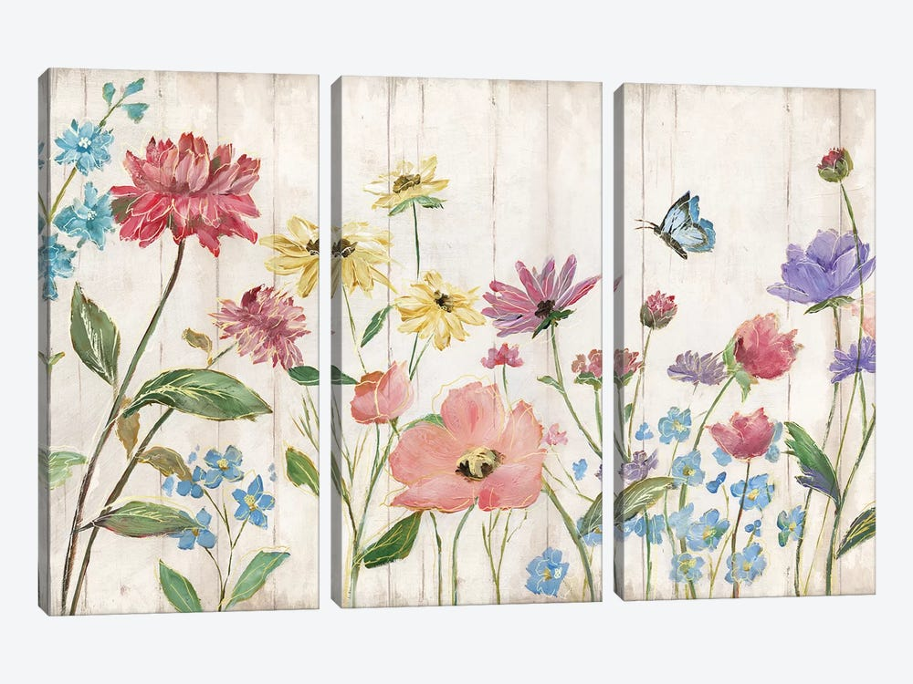 Wildflower Flutter On Wood 3-piece Canvas Art
