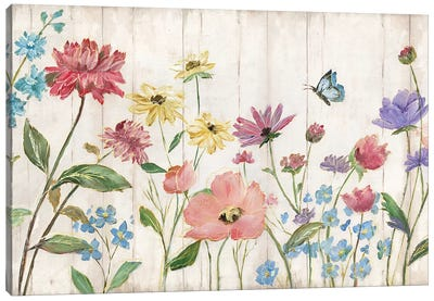 Wildflower Flutter On Wood Canvas Art Print