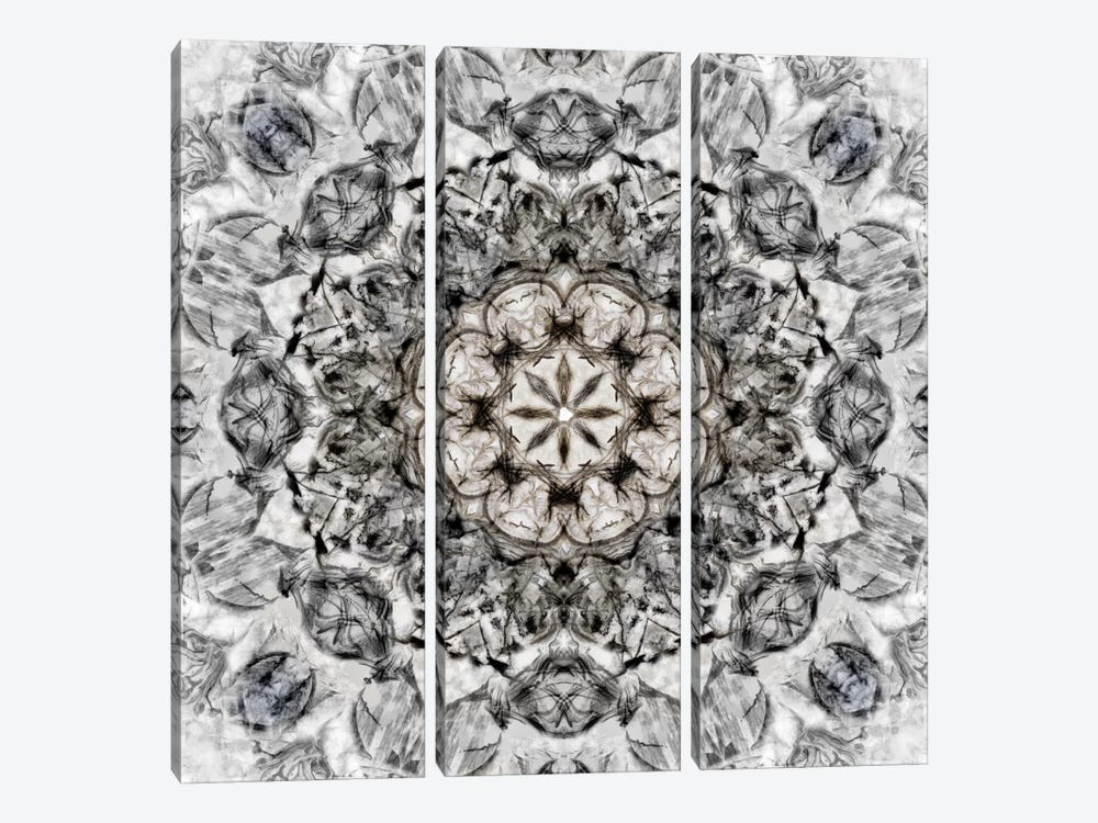 Black White Kaleidoscope I by Nan 3-piece Canvas Print