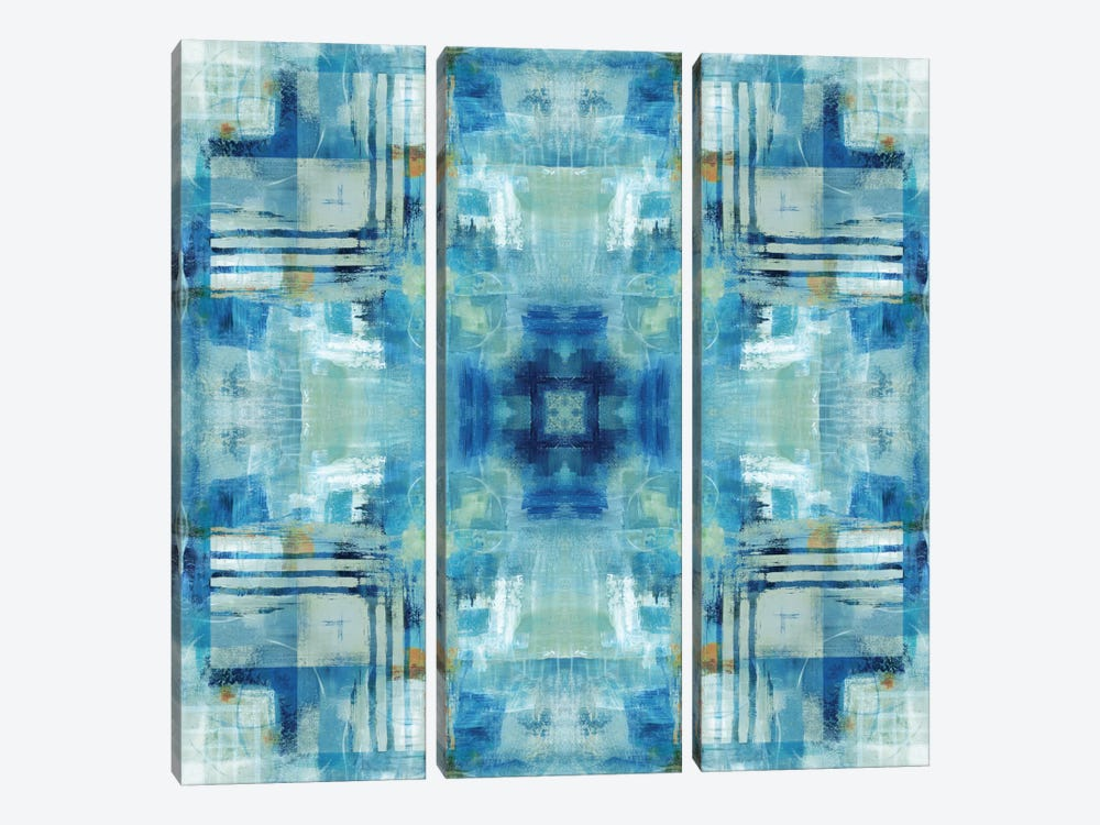 Kaleidoscope Blue Tie-Dye by Nan 3-piece Canvas Art Print