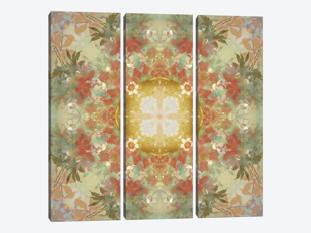 Kaleidoscope Floral Gold 3-piece Canvas Art Print