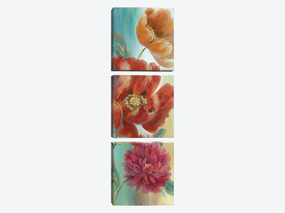 Poppy Panel Red I by Nan 3-piece Canvas Artwork