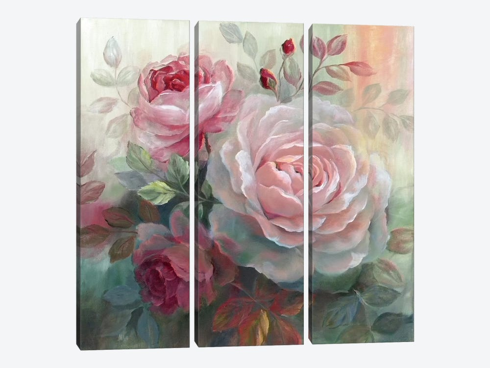 White Roses II 3-piece Canvas Art Print