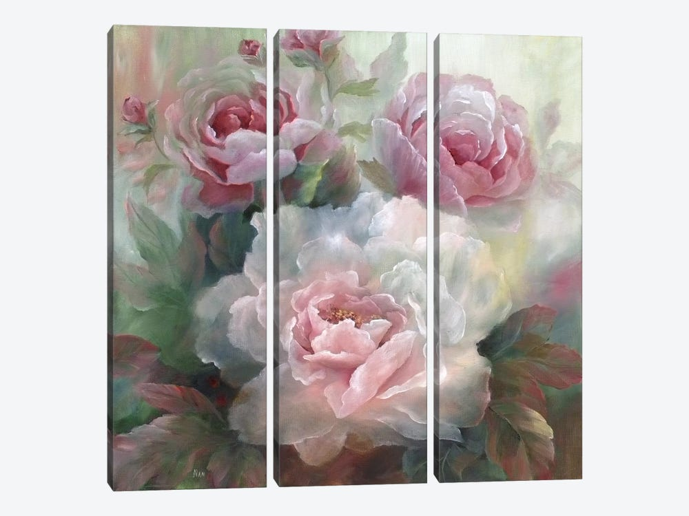 White Roses III by Nan 3-piece Canvas Art