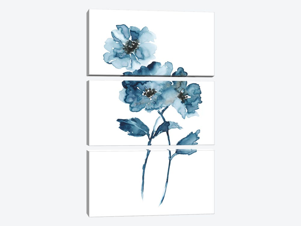 Blue Botanique II by Nan 3-piece Canvas Print