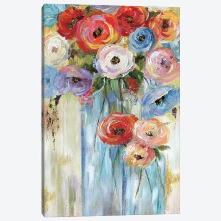 Bottles And Blooms Canvas Print #NAN252} by Nan Canvas Art Print