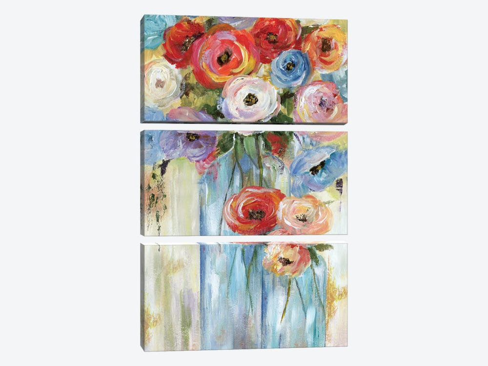 Bottles And Blooms by Nan 3-piece Canvas Art