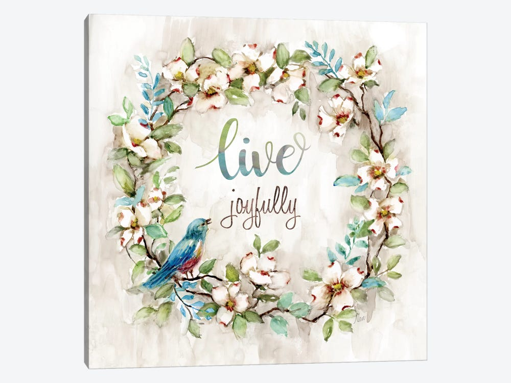 Live Joyfully by Nan 1-piece Canvas Art