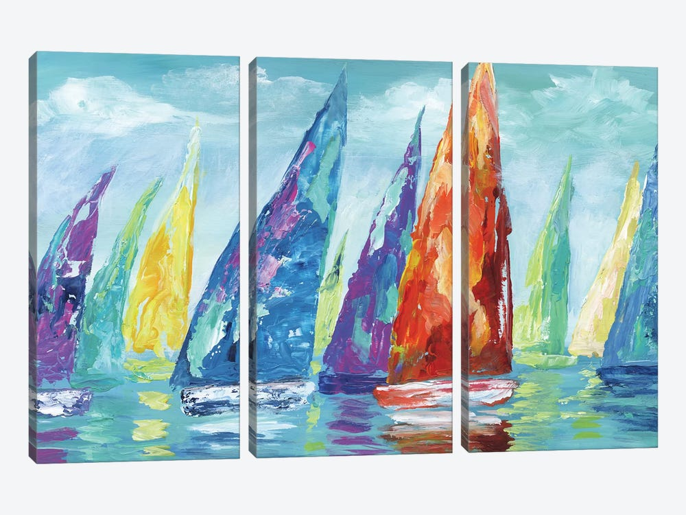 Fine Day Sailing II by Nan 3-piece Canvas Art Print