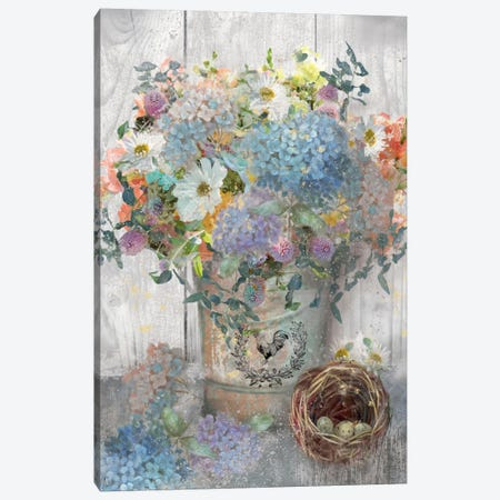 Bucket Of Flowers I Canvas Print #NAN29} by Nan Art Print