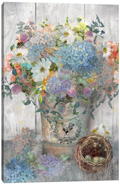 Bucket Of Flowers I Canvas Art Print