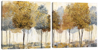 Metallic Forest Diptych Canvas Art Print