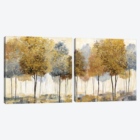 Metallic Forest Diptych Canvas Print Set #NAN2HSET001} by Nan Art Print