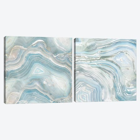 Agate In Blue Diptych Canvas Print Set #NAN2HSET002} by Nan Art Print