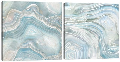 Agate In Blue Diptych Canvas Art Print